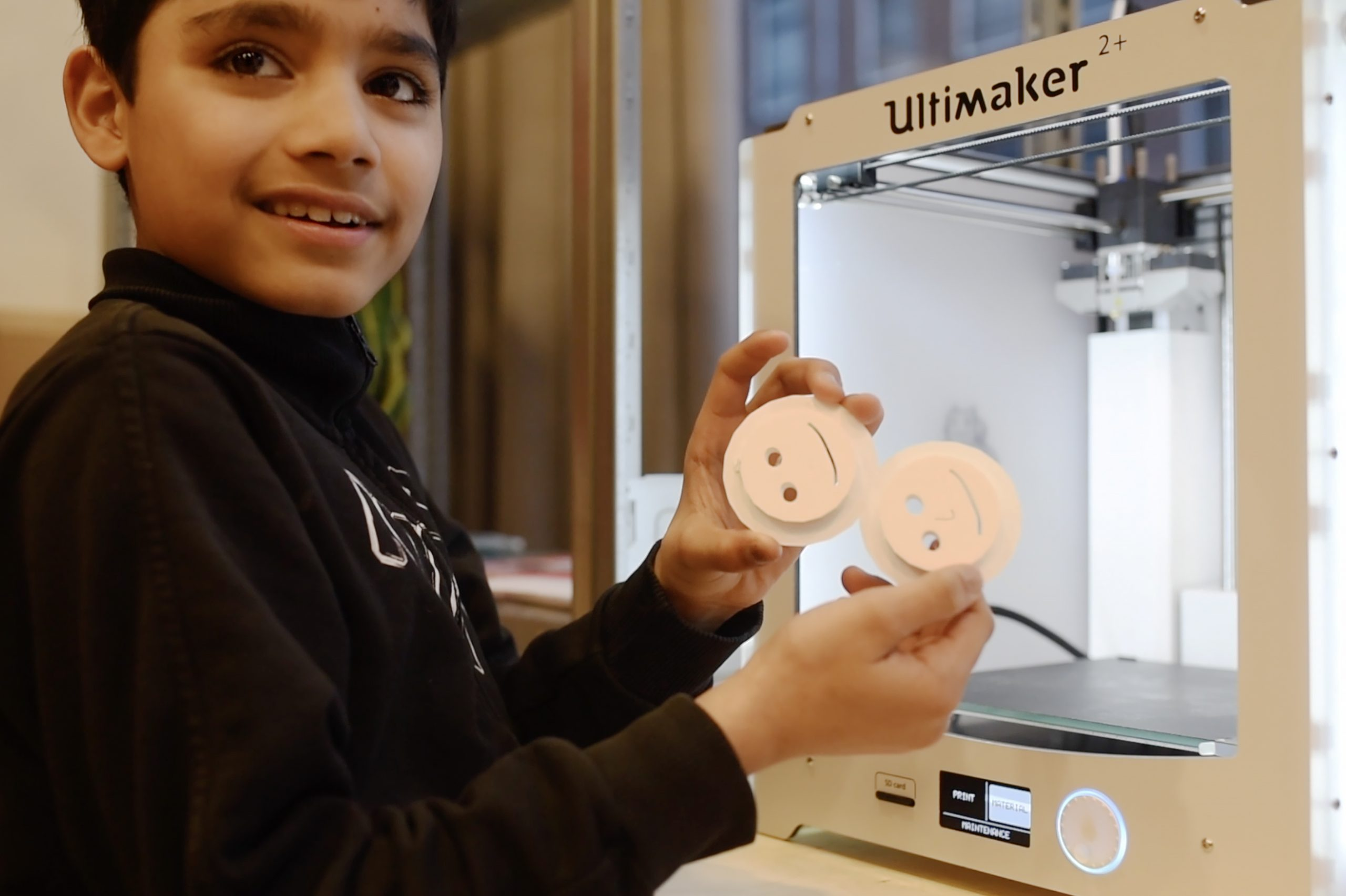 Young learners in the Netherlands trying out new digital fabrication skills.